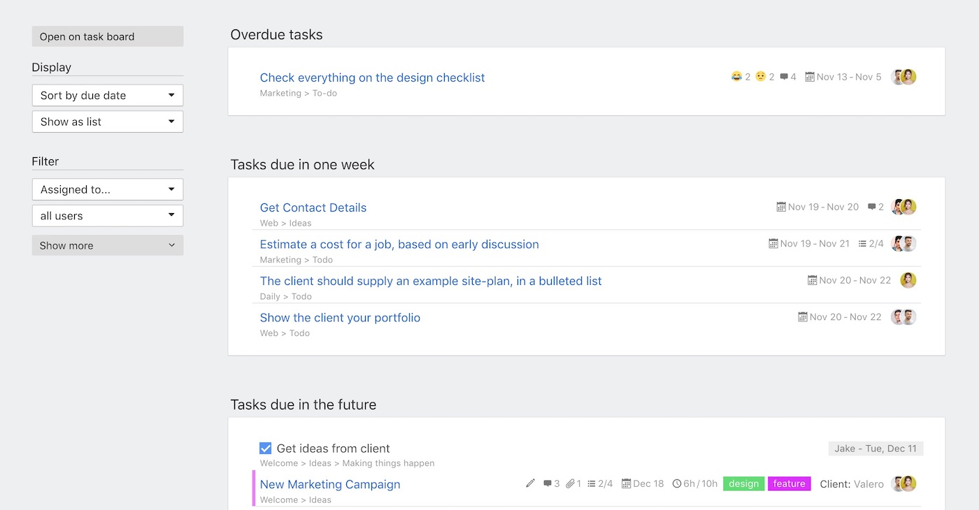 Tasks dashboard